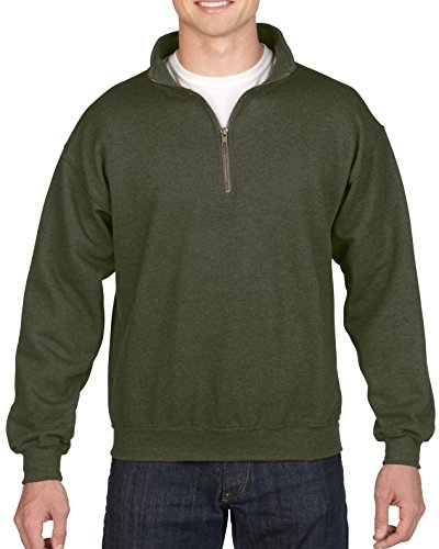 Gildan Men's Fleece Quarter-Zip Cadet Collar Sweatshirt, Moss, Large