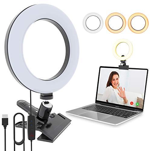 Video Konferenz-Beleuchtungsset Xpassion Selfie Ringleuchte Beleuchtung für Monitor-Clip-On für Fernarbeit Fernunterricht Zoom-Anrufbeleuchtung Live-Streaming Computer- und Laptop- Videokonferenzen