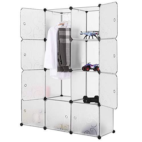 Guardaroba Modulare, 12 Cubi Armadietto Fai da Te, Armadietto Modulare, Mobiletto in Plastica per Il Bagno, Camera da Letto, Ingresso, 111x37x147cm, Bianco