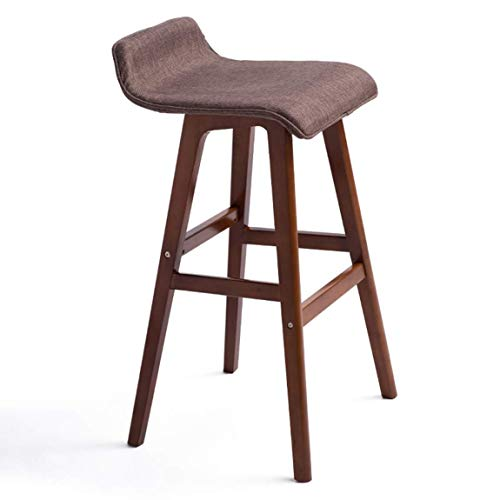 Decoración de muebles Necesidades diarias / Silla de bar de madera maciza Silla de bar creativa Taburete de bar europeo Silla de bar Taburete de bar retro simple Taburete de pie alto Rojo marrón 1