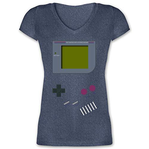 Nerds & Geeks - Gameboy - XXL - Dunkelblau meliert - XO1525 - Damen T-Shirt mit V-Ausschnitt