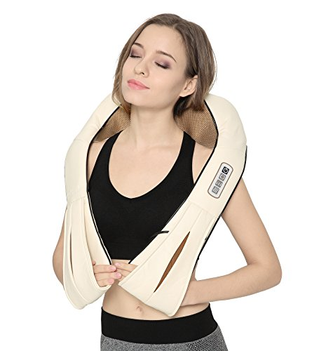 Nekteck Shiatsu Neck and Back Massager with Soothing Heat, Electric Deep Tissue 3D Kneading Massage Pillow for Shoulder, Leg, Full Body Muscle Pain Relief, Car, Office and Home Use