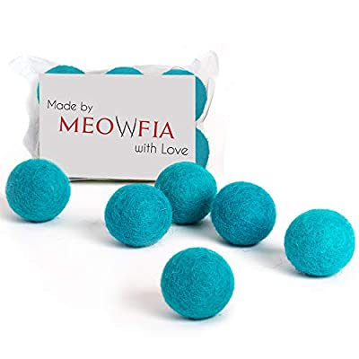 MEOWFIA Wool Ball Toys - 6-Pack of Safe for Cats and Small Dogs Balls - 1.5 Inch Felted Wool Cat Toy and Dog Toy - Perfect with Cat Cave - Silent - Mini Tennis Balls - 6-Pack from MEOWFIA