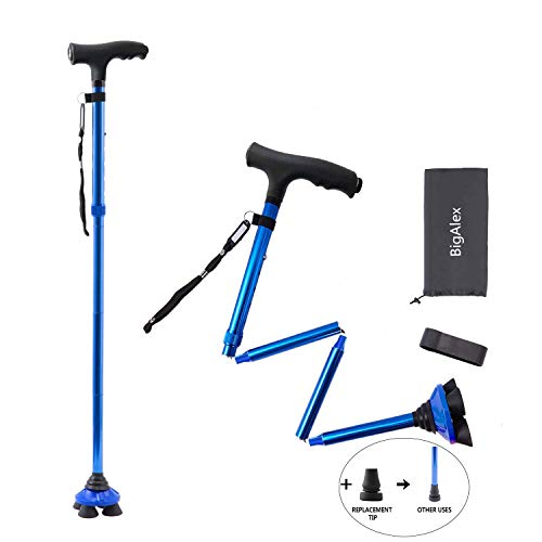 BigAlex Folding Walking Cane with LED Light,Pivoting Quad Base,Adjustable Walking Stick with Carrying Bag for Man/Woman (4'9''-5'6'' Blue )