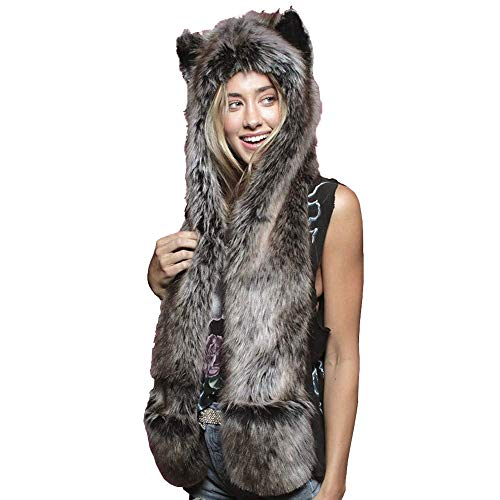 Vovoo レディース手袋付きアニマル帽子マフラー 可愛い動物帽子 人気COSPLAY猫耳 面白い連体セット冬暖かスカーフ帽子 男女共用 (#16灰色オオカミ)
