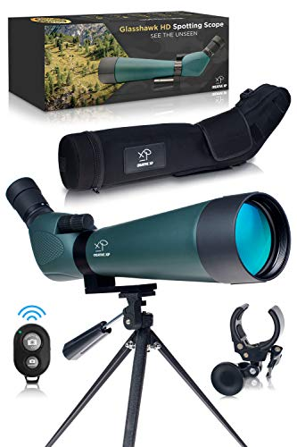 CREATIVE XP HD Spotting Scope with Tripod 20-60x60mm - BAK 4 Prism Spotting Scopes for Target Shooting Hunting Astronomy Bird Watching - 100% Waterproof Shockproof IP67 - Phone Adapter and Clicker