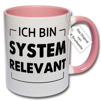 CRP Tasse mit Spruch - Lustige Kaffeetasse Ich Bin systemrelevant Geschenkidee Büro (F: Rosa)