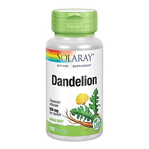 Solaray Dandelion Root 520mg | Healthy Liver, Kidney, Digestion & Water Balance Support | Whole Root | Non-GMO, Vegan & Lab Verified | 100 VegCaps