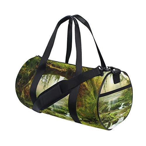 ZOMOY Barrel Bag,Arte misteriosa del Paesaggio della Natura di Estate della Foresta PLU,Nuova Borsa Sportiva a Secchiello da Stampa Borse da Fitness Borsa da Viaggio in Tela Bagagli