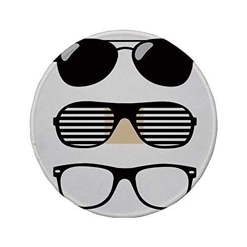 Rutschfreies Gummi-rundes Mauspad Indie Set stilisierter altmodischer Sonnenbrillen Sommeraccessoires Hipster Vintage Dekorativ Schwarz und Weiß 7.9