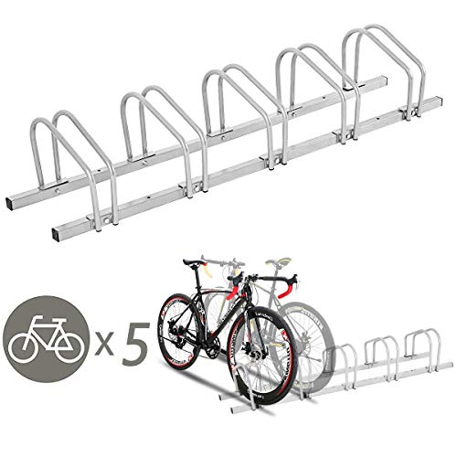Goplus 5 Bike Rack Bicycle Stand Cycling Rack Parking Garage Storage Organizer, Silver