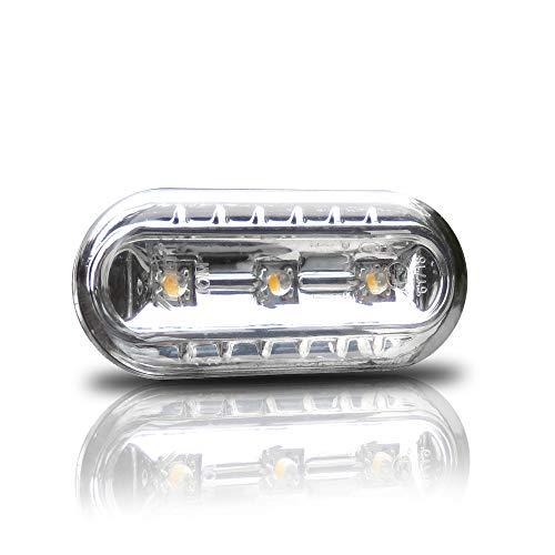 JOM Car Parts & Car Hifi GmbH 80066-2 Répétiteurs à LED, VW Golf 3/4, Vento 96-, Lupo, Passat B5, Polo 2000-, Seat Leon, Face Lisse/Fond Chrome