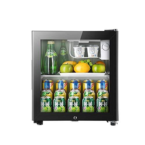 50L Mini nevera Cerveza negra, 50 litros de vino y bebidas Frigorífico con luz LED y cerradura y llave, bajo Energía A + (Negro),...