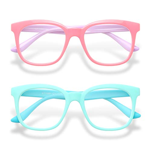 Gaoye 2-Pack Kids Blue Light Glasses Girls & Boys Age 3-15, Computer Gaming Fake Eyeglasses Anti Eyestrain (Green&Blue+ Pink&Purple)