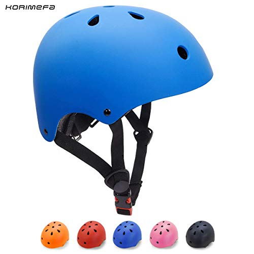 KORIMEFA Casco Bicicleta para Niños Casco Infantil Ajustable para Monopatín Patinaje BMX Esquiar, Casco para multibles Deportes niño niña de Edad de 3-13 años (Azul, M)