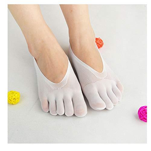 Calcetines de compresión OrthoToe, calcetines de cinco dedos con punta dividida para aliviar el dolor de juanete (Blanco 2 pares)