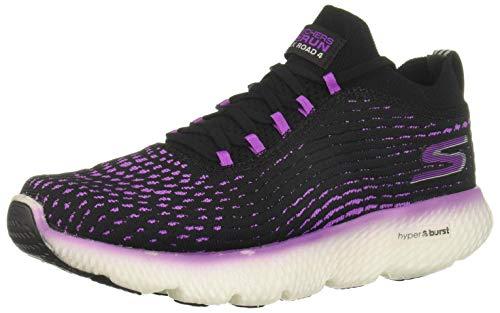 Skechers Women's Go Run MaxRoad 4 Hyper, Black/Purple, 7 B