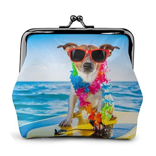 Perro sobre Tabla de Surf Impreso Mujer 'S Cartera Monedero de Cuero Kiss-Lock Travel Maquillaje Carteras