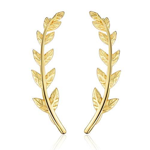 Esberry - Pendientes de plata de ley 925 chapados en oro de 18 quilates con forma de hojas, pendientes hipoalergénicos para mujeres y niñas