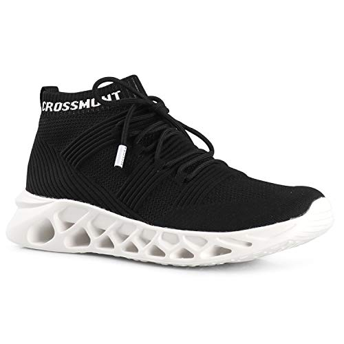 CROSSMONT Mens Rift-Hi Walking Shoes Breathable Knit Athletic High Top Slip on Sneakers BLK White 12