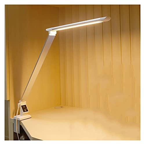 Lámpara de escritorio Lámpara de protección de ojos con brazo largo 12W Lámpara de mesa con LED plegable con abrazadera 360 ° Lámpara de escritorio flexible y portátil, 5 modos de color y 5 brillo Dim