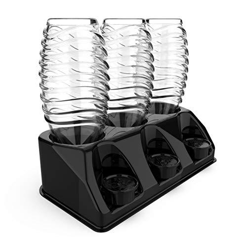 Premium 3 portabottiglie in plastica nera lucida | Scolapiatti per bottiglie SodaStream Aarke Emil con supporto per coperchio | Scolapiatti lavabile in lavastoviglie | Crystal Easy Power