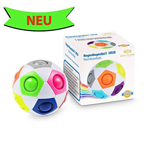 Lucky Humans -Premium Regenbogenball- Geschicklichkeitsspiele/Knobelspiele für Kinder und Erwachsene, Magic Ball Spielzeug als Mitgebsel/Geschenke, Anti- Stress Ball, Puzzle, Speed Cube, Fidget Cube