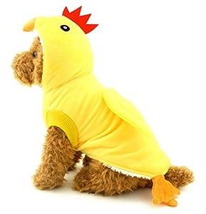 Zunea Petit Chien Chiot Animal domestique Chat de moins de 9,1kilogram Chien à capuche Pyjama Costume de poussin en polaire Manteau