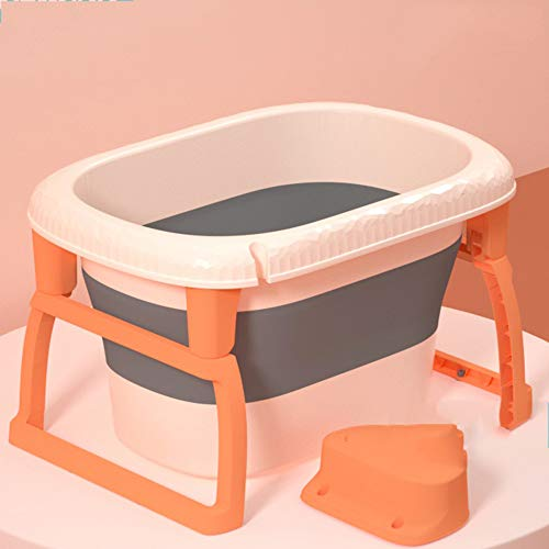 B&G Bañera Plegable De Bebé, Sentado Y Mintiendo Bañera De Bebé para Bebé, Cubo De Natación para Bebés, 70X46x42cm,Naranja