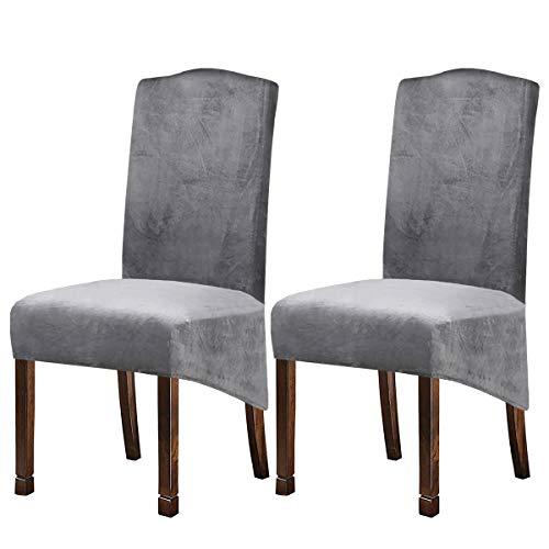 KELUINA XL Fundas para sillas de Terciopelo Felpa para sillas de Comedor, Fundas para sillas elásticas, tronas de Spandex, Fundas Protectoras con elástico para Comedor (Gris Plateado, 2 Piezas)