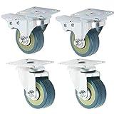 Rueda Pivotantes Ruedas Giratorias de Goma Ruedas de Freno Industrial Con Placa de Montaje 50 mm (2 pulgadas 2 x estándar, 2 x freno)