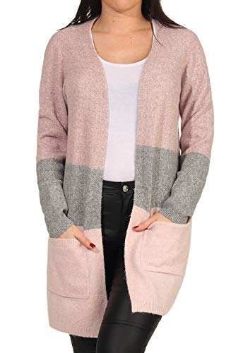 Vero Moda VMDINA LS Open Block Cardigan GA Color Suter crdigan, Woodrose, XS para Mujer