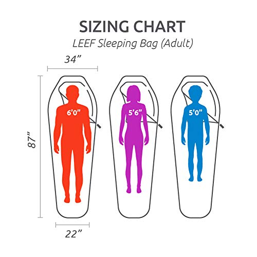 TETON Sports LEEF Lightweight Adult Mummy Sleeping Bag; Great for Hiking, Backpacking and Camping; Free Compression Sack; Black , Adult - 87