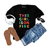 This Girl is On Fire Alicia Keys T-Shirt for Women & Girls Inspirational Sassy Tees Tops Plus Size (Black, Small)