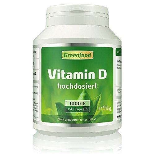 Greenfood Vitamin D3 (Cholecalciferol), 1000 iE, hochdosiert, 150 Vegi-Kapseln – für feste Knochen, gesunde Zähne und ein leistungsstarkes Immunsystem. OHNE künstliche Zusätze. Ohne Gentechnik. Vegan.