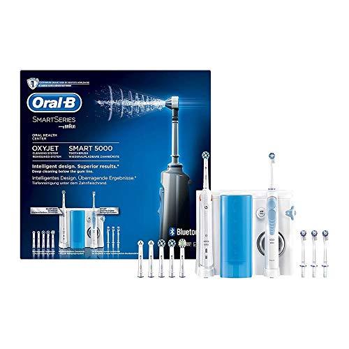 Oral-B Mundpflege-Center, SMART5000Elektrische Zahnbürste +OxyJet Munddusche, Für eine sanfte Reinigung am Zahnfleischrand, 4 OxyJet Aufsteckdüsen