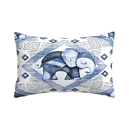 Fundas de Almohada Suaves y acogedoras, Elefante Indio de la Acuarela con la impresión del Arte Tribal étnico del azulejo Azul, Fundas de Almohada con Patrones delicados, 20'X30'