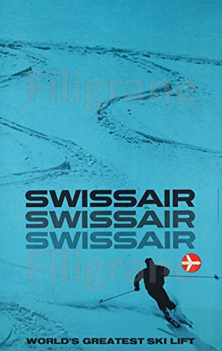 PostersAndCo TM SWISSAIR Poster / Kunstdruck, 50 x 70 cm (auf Papier 60 x 80 cm) d1 Poster Vintage