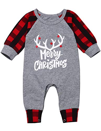 My 1st Christmas Newborn Baby boy Girl Clothes Romper Merry Christmas Plaid Sleeve Jumpsuit Infant Outfit(Red, 3-6M)