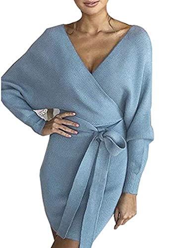 ZIYYOOHY ZIYYOOHY Damen Elegant Pulloverkleid Strickkleid Tunika Kleid V-Ausschnitt Langarm Minikleid Mit Gürtel (XL(42), Blue)