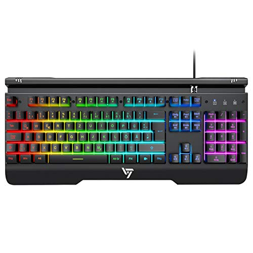 Gaming Tastatur RGB, VicTsing Metallic Tastatur Beleuchtet mit Handyhalter, Bequeme Handgelenkauflage & Metallrahmen, 25 Anti-Ghosting Tasten, USB Keyboard ideal für Gamer, PC|Laptop Tastatur