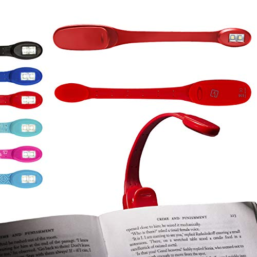 Flexilight Xtra Booklight Flexible Portable LED Clip Reading Light Book Lover Gift - Red Flexilight
