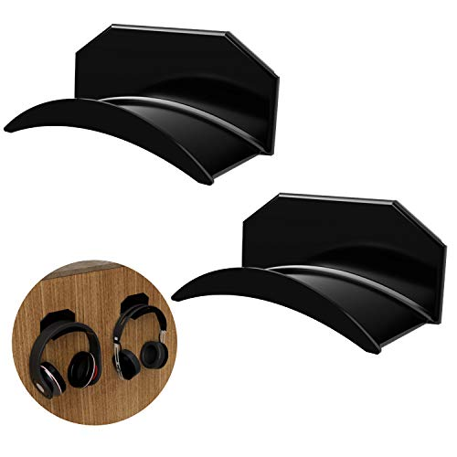 TAC Hangers - Headset Stand Hanger Wall Mount (2-Pack) No Drilling Required - Universal Headphone Adhesive Hanger Stand - Save Desktop Space, Organize Gamer Headset, Cable Hooks Under Desk Holder