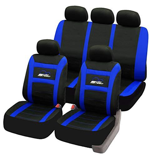 eSituro universal Sitzbezüge für Auto Schonbezug Komplettset schwarz/blau SCSC0095