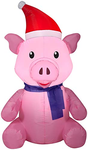Gemmy Christmas Inflatable 3.5ft Pig with Santa Hat & Scarf