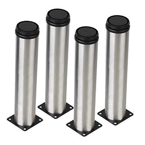 BQLZR Silver 50 x 250mm Cabinet Metal Legs Adjustable Stainless Steel Kitchen Table Desk Feet Pack of 4