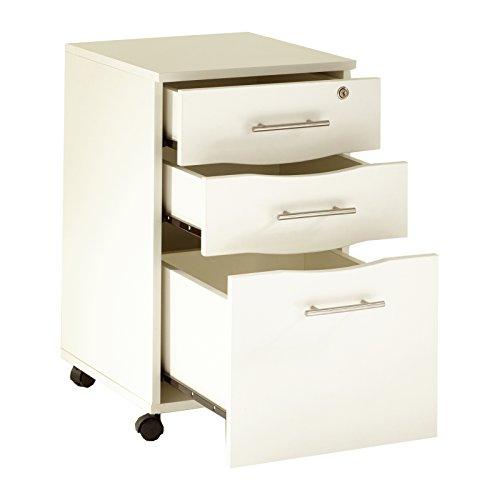 Mmt Furniture Designs Ltd Mobiler Unterschrank mit 3 Schubladen, abschließbar, Weiß