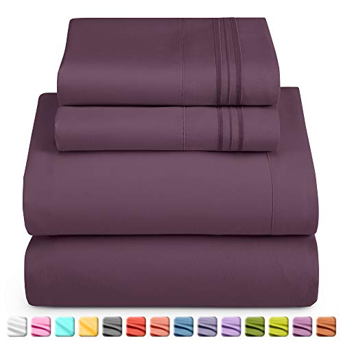 Nestl Luxury Queen Sheet Set - 4 Piece Extra Soft 1800 Microfiber-Deep Pocket Bed Sheets with Fitted Sheet, Flat Sheet, 2 Pillow Cases-Breathable, Hotel Grade Comfort and Softness - Purple Eggplant