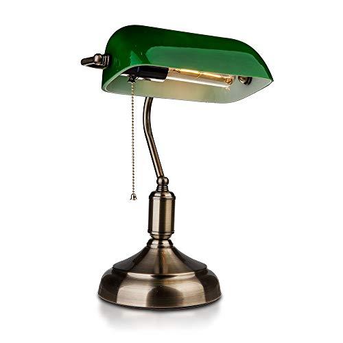 Lampada da tavolo Vintage V-TAC in metallo ottone antico e vetro colorato E27 VT-7151 – SKU 3912 VERDE