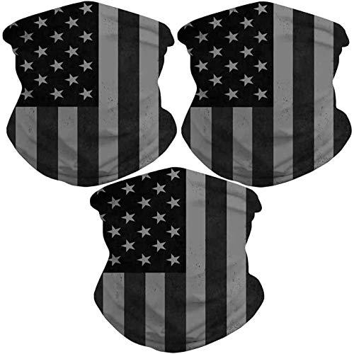 Sibosen 3 Pack American Flag Neck Gaiter Face Cover Scarf Breathable Gator Mask Cooling Bandana, Black Gray